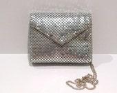 Silver Mesh purse Vintage Shimmering Metallic Crossbody bag 1970s Disco Glam Studio 54 Shoulder Chain Strap Clutch Bag Convertible Mini Bag