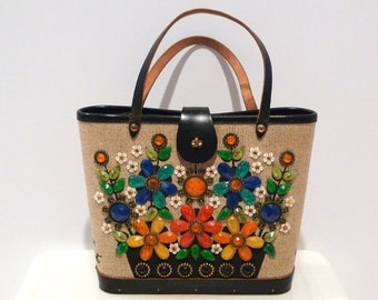 Enid Collins Flower Basket Purse Vintage Floral Canvas bag Pop Art Flowers authentic designer Texas 1960s ec logo Rhinestones Bouquet