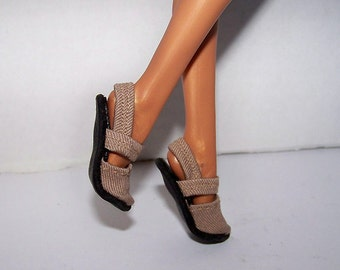Handmade Monster High doll shoes - tan mary-jane style slip on shoes to fit Nefera size doll