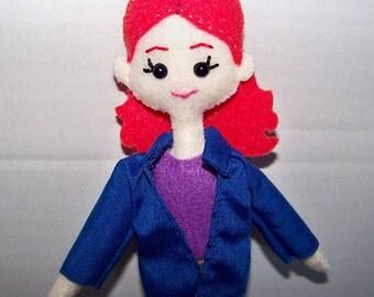 Supernatural Charlie Bradbury felt doll, fabric doll, cloth doll, hand-made doll, hand-sewn doll, hunter, character doll