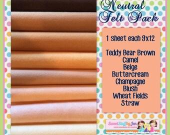 Wholesale Wool Felt-Felt Bundle-Wool Felt Sheets-Skin Tone Felt-Neutral Felt-Felt Pack-Felt Variety Pack