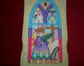 Easter Hand Towel Bathroom or Kitchen Stained Glass Window, Angel, Cross, Tomb