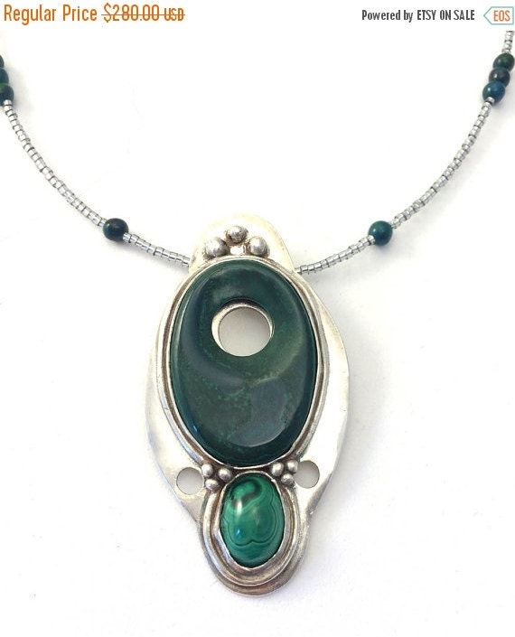 ON SALE green swirls malachite silver pendant necklace precious metal clay silver PMC