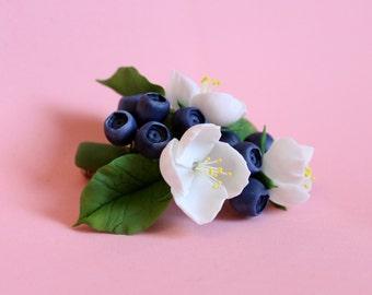 Brooch with jasmine and bilberry, flower jewelry, polymer clay jewelry