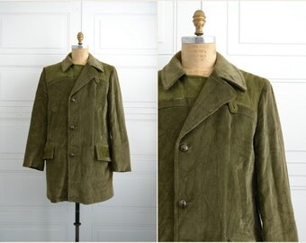 1970s Sears Olive Green Corduroy and Suede Coat