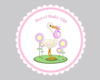 Set of 16  Baby Shower Favor Tags, Baby Stork Delivery Tags, Bag Tags, Gift Tags, Shower Gift Tags, Gender Reveal Tags