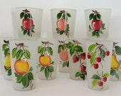 Hand Painted Vintage Gay Fad Frosted Fruit Drinking Glasses