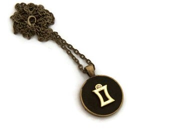 Gemini  necklace - Gemini zodiac jewelry -  mini zodiac pendants - june birthdays - birthday gifts for her - gifts under 20