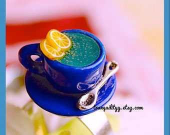Miniature Food Ring, Herbal Green Hot Tea With Lemon and Spoon handmade By: Tranquilityy