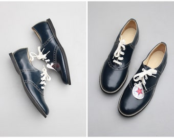 vintage 50s ladies saddle oxford shoes - deadstock with tags / Navy Blue - 1950s sock hop / marked women's 12 M
