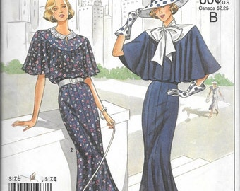 Simplicity 9360 Vintage 1920s Anniversary DRESS Pattern Tie Collar And Capelet Size 14, 16, 18 and 20 UNCUT