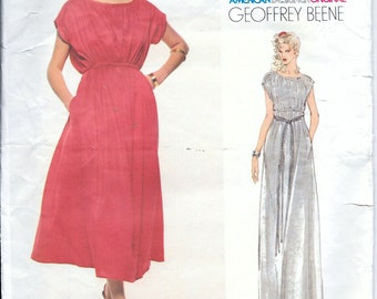 Vintage 70s Vogue 1942 GEOFFREY BEENE Designer DRESS Sewing Pattern Size 8, 10 Long Evening Gown