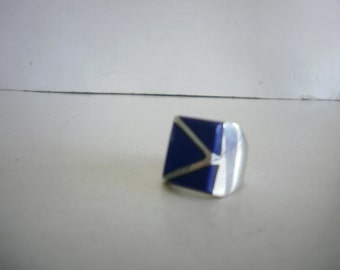 Vintage mexico Ring Sterling Silver 925 Ring Man Ring Taxco Ring Handmade Ring Lapis Ring