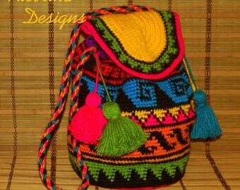 Crochet tapestry Wayuu Bag mochila colombian style bag kumihimo techniques shoulder tote tassels bag boho style crossbody bag free shipping