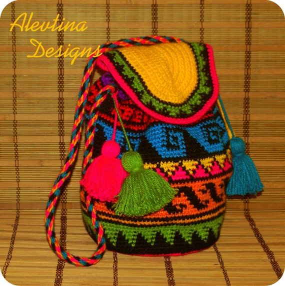 Crochet tapestry Wayuu Bag mochila colombian style bag