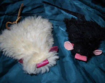 2  Handmade USA Cat Mice Mouse Toys FULL of Catnip: Genuine Fur/Leather/Sheepskin, with leather tails!  Your cat will go nuts!