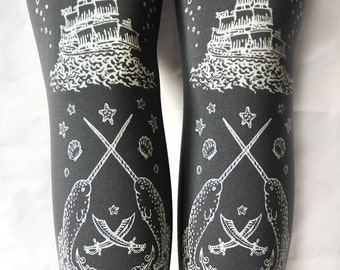 Pirate Grey Tights Narwhals Small Medium White on Slate Grey Gray Tattoo Sailor Nautical Lolita Accessory