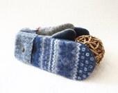 Wool Mittens BLUE & GREY Nordic / Fair Isle Sweater Wool, Sweater Mittens Fleece Lined Scandinavian Design Unisex Gift Under 50 WormeWoole