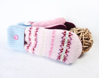 Felted Wool Mittens PINK & BLUE Pastel Eco-friendly Fair Isle Sweater Mitts Fleece Lined Mittens Gift Under 50 for Women Recycled Sweater