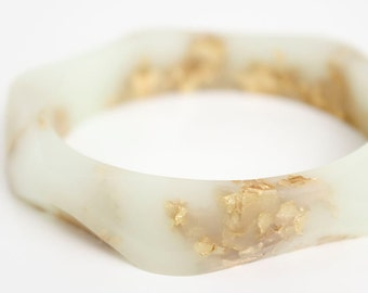 gold bracelet in winter mint bangle wavy eco resin with metallic gold flakes