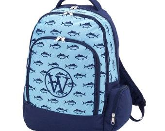 Personalized Boys Backpack- Monogrammed Backpack- Standard Backpack- Fin Backpack- Kids Backpack- Boys Backpack- Personalized Backpack