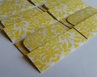 SALE Mini Cards n Envelopes - Set of 6 - Sunshine Yellow Damask Designs