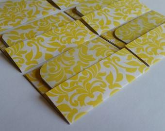 BUY 3 get 8 FREE- Mini Cards n Envelopes - Set of 6 - Sunshine Yellow Damask Designs