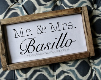 Mr and mrs wedding sign frameEtsy