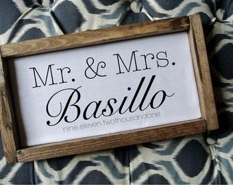 Wedding Anniversary Gifts Australia : Mr and mrs wedding sign frameEtsy