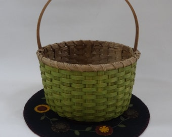 Storage Basket-Round Basket-Handwoven Basket-Gathering Basket-Easter Basket-Primitive Style