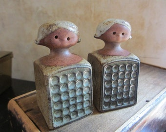 Vintage girl pair ceramic salt and pepper shakers / made in Japan / plugs intact / 1970s