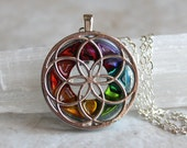 rainbow seed of life necklace, sacred geometry, spiritual jewelry, meditation jewelry, chakra necklace, yoga jewelry, unique gift