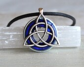 royal blue triquetra necklace, celtic jewelry, mens necklace, irish jewelry, unique gift, mens jewelry, mens gift, celtic knot, wiccan