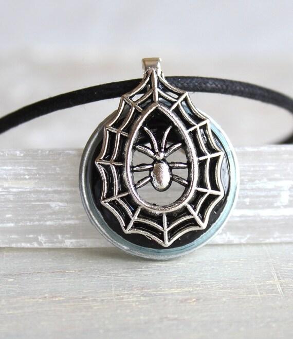 black spider necklace, spider jewelry, halloween costume, halloween jewelry, halloween necklace, halloween gift, spider web, goth jewelry