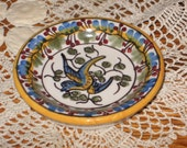 """V.L. Lisboa Portugal Ceramic Painted  Bird Berries Butter Pat 2-3/4"""" Dish Numbered Embedded 1"""