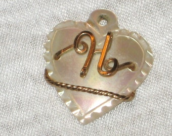 Mother of Pearl Heart Shaped Pendant Brooch for Necklace Initial H Gold Lettering and Chain on Pendant NO CHAIN