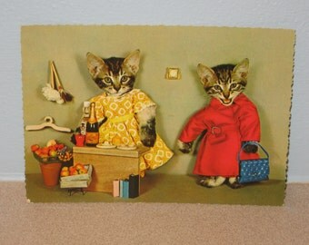 Vintage Cats in Clothes Yellow Dress Red Coat Blue Purse Published by Kruger
