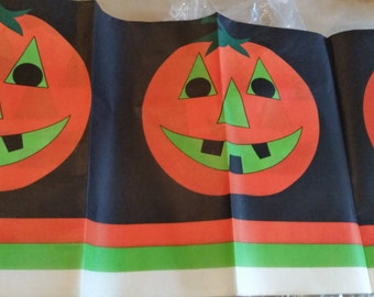 Vintage Paper Halloween Tablecloth with Pumpkins