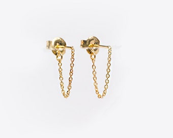 Short Chain Dangle Earrings, Sterling Silver & Gold Plated, Chain Studs, Dangling Post Earrings, Minimalist, Edgy Jewelry, Gift, CHE002