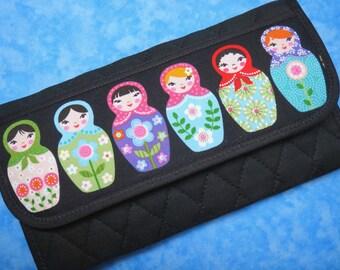 Women Wallet - Fabric Wallet Matryoshka Vegan Wallet Trifold Wallet Cute Large Wallet Organizer Wallet Cloth Ladies Wallet Gifts for Her