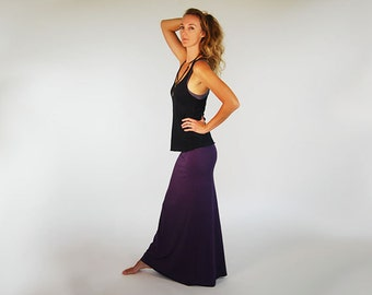 Maxi Skirt - Full Length Skirt - Deep Purple - Eggplant - Organic Clothing - Skirt for Women