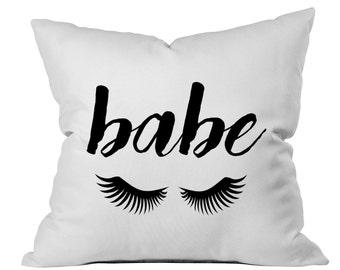 Babe Pillow Babe Eyelashes Babe Throw Pillow Cute Toss Pillow Black White Pillow Monochrome Decor Bedroom Graduation Present College Gift