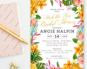 Stock the Bar - Tropical Party, Future Mrs. Bridal Shower, Wedding Invitations