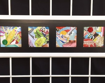 White Framed, Black Matted, Multicolored, Four Combined, Abstract Recycled Paper Art