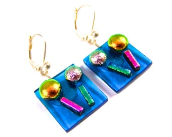 """Dichroic Earrings - Aqua Teal Blue Pink Yellow Gold Green Flowers Fused Glass Dangle Lever Back Eurowire Lever - Lolly Pop Lollipop - .75"""""""