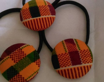 Kente  Print Covered Button Ponytail/ Dreadlocks/ Hair Tie
