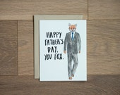 Funny Father's day card - fox dad - animal greeting card - man card