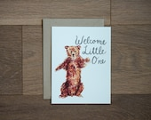 New baby card - welcome little one - baby bear - baby boy - baby girl