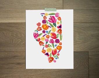 Illinois print 8 x 10 - art print - illinois map - flower print - lavender