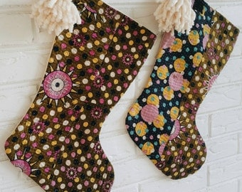 Colorful Kantha Christmas Stockings with Pom Poms - Modern Bohemian Holiday Decor - Boho Christmas